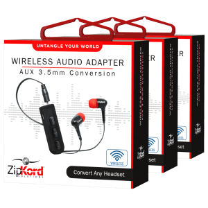 3-Pack ZipKord 3.5mm Bluetooth Adapter