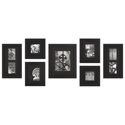 Deals on 7-Pack: Gallery Perfect Black Wood Photo Frame Set