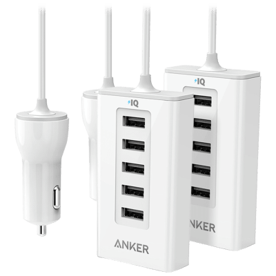 Deals on 2-Pack Anker 5-Port PowerDrive 50W Car Charging Station