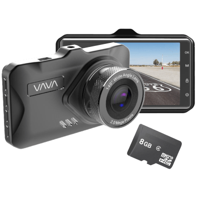 Deals on VAVA 1080P 3-in Dash Cam w/Parking Monitor & 8GB SD Card