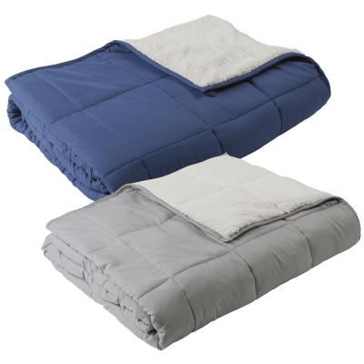 Great Bay Home Sherpa Lined 15lb Weighted Blanket