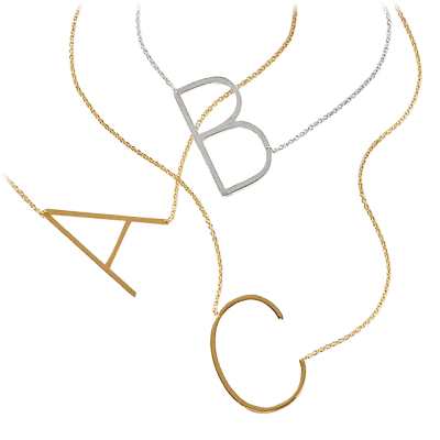 18k Gold Plated XL Initial Necklaces