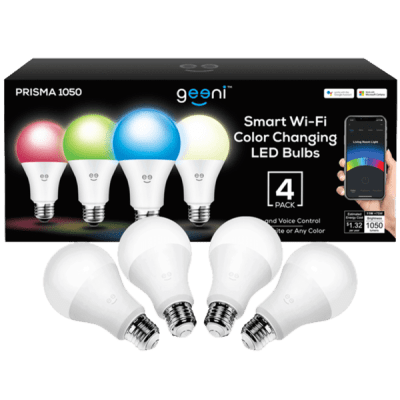 4-Pack Geeni Prisma 1050 lm Color Smart Bulbs