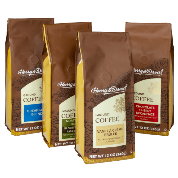 4-Pack: Assorted 12-oz Ground Coffee Bags by Harry & David