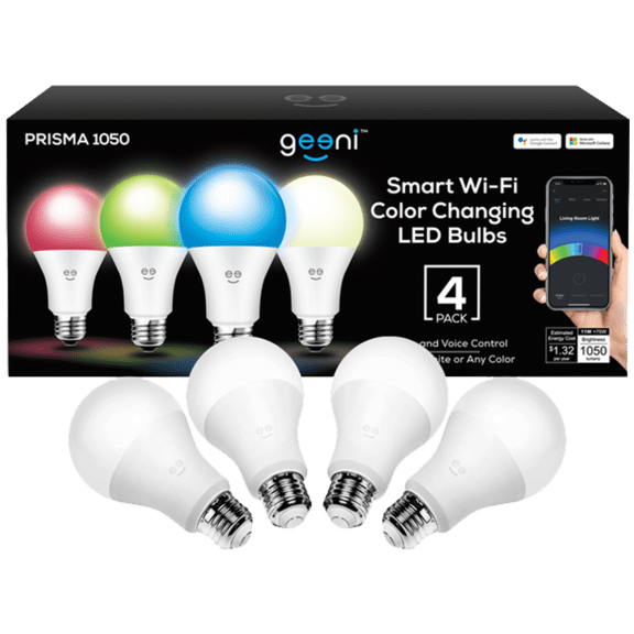 4-Pack: Geeni Smart Wi-Fi Color Changing Dimmable LED Bulbs