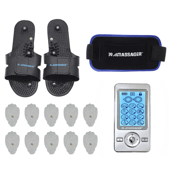 IQ Technologies PRO V Combo TENS/EMS Unit with Extra Pads, Slippers & Belt