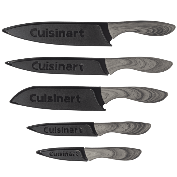 Cuisinart 10-Piece Ceramic Coated Knife Set with Faux Wood Handles