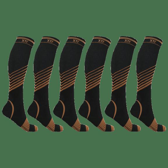 6-Pack: Extreme Fit Copper-Infused Ultra V-Striped Knee-High Compression Socks