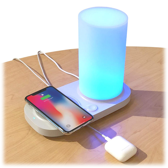 iHome Color LED Power Station with USB and Wireless Charging