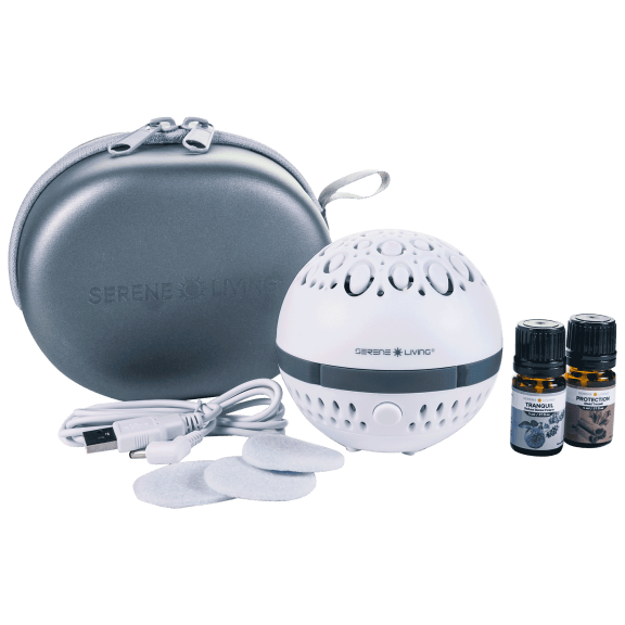 Serene Living Portable Aromatherapy Diffuser with Essential Oils and Travel Case