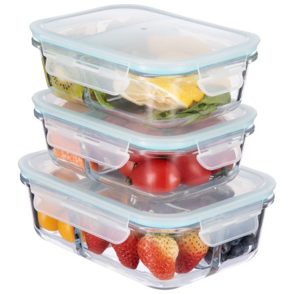 Masions 6-Piece Borosilicate Glass Divided Containers