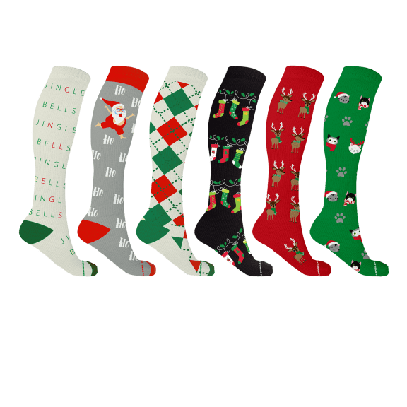 6-Pack Christmas Compression Socks by Extreme Fit