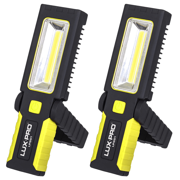 2-Pack: LUX-PRO 200-Lumen Broadbeam LED Magnetic Work Light Flashlights