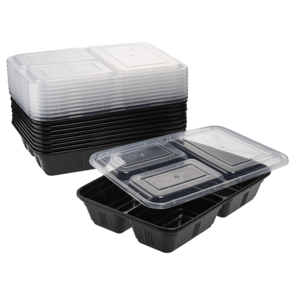 Diamond Home 20-Piece Meal Prep Food Storage Containers with 3 Compartments