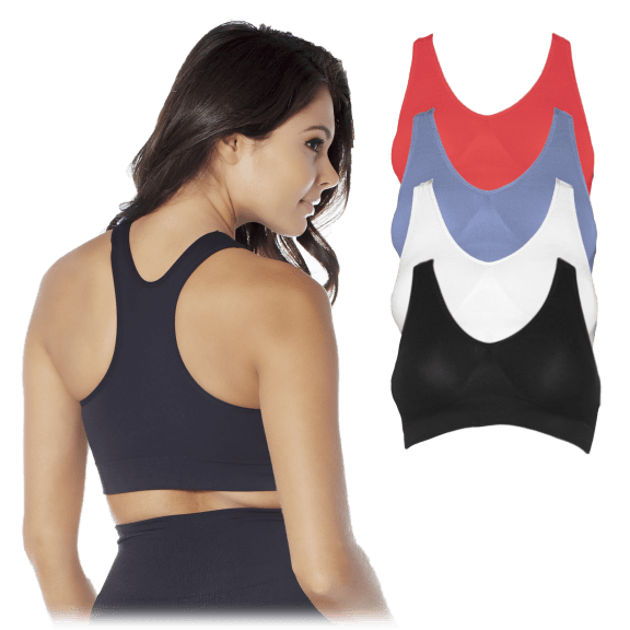 4-Pack Rhonda Shear Seamless Racerback Leisure Bras