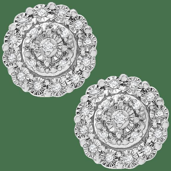 Diamond Muse Halo Cluster Stud Earrings 1/10 ct. t.w. in Sterling Silver