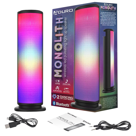 Aduro Monolith LED Light Up Tower Party Wireless Speaker