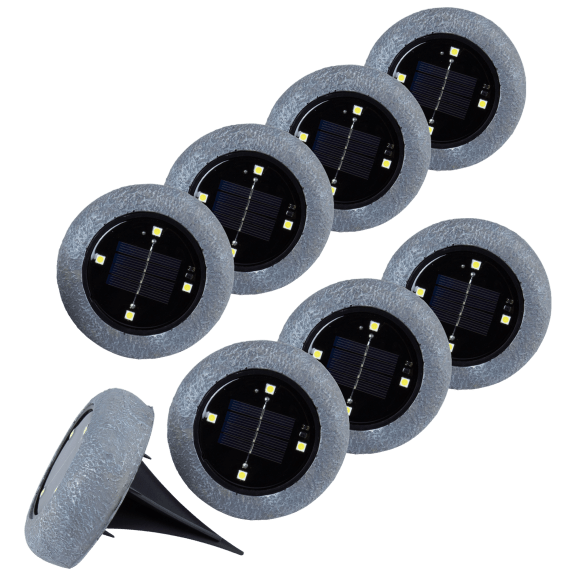 8-Pack: Rock Solar In-Ground Pathway Lights