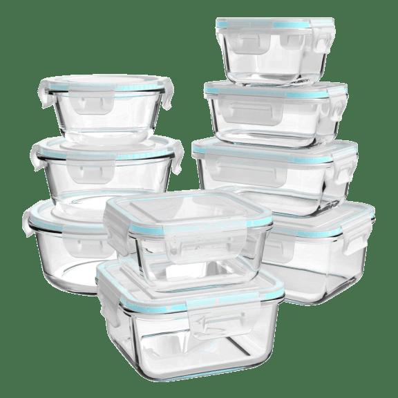 Ailtech 18 Piece Borosilicate Glass Food Storage with Easy Lock Lids