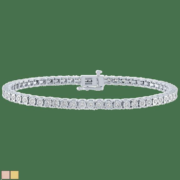 Diamond Muse 1 Carat TW Real Diamond Circle Link Tennis Bracelet