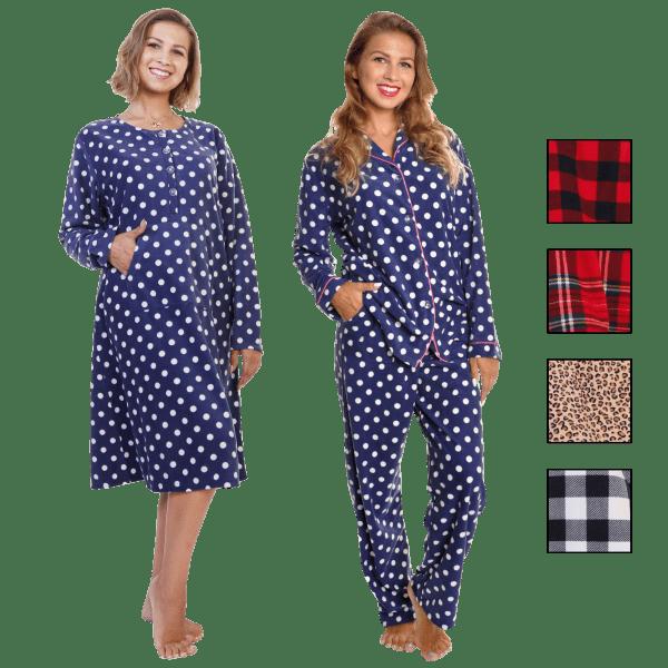 2-Pack: Angelina Pajama 1 Fleece Gown & 1 Shirt-&-Pants Fleece Combo