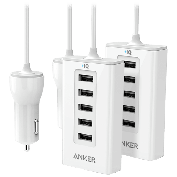 2-Pack Anker 5-Port PowerDrive 50W Car Charging Station