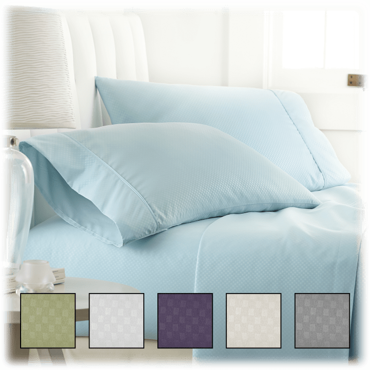 4-Piece Home Collection Premium Checkered Embossed Bed Sheet Set