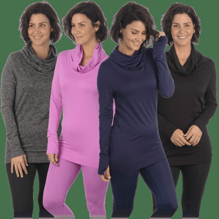 Maidenform Women's Cowl Neck Seamless Long Sleeve Top
