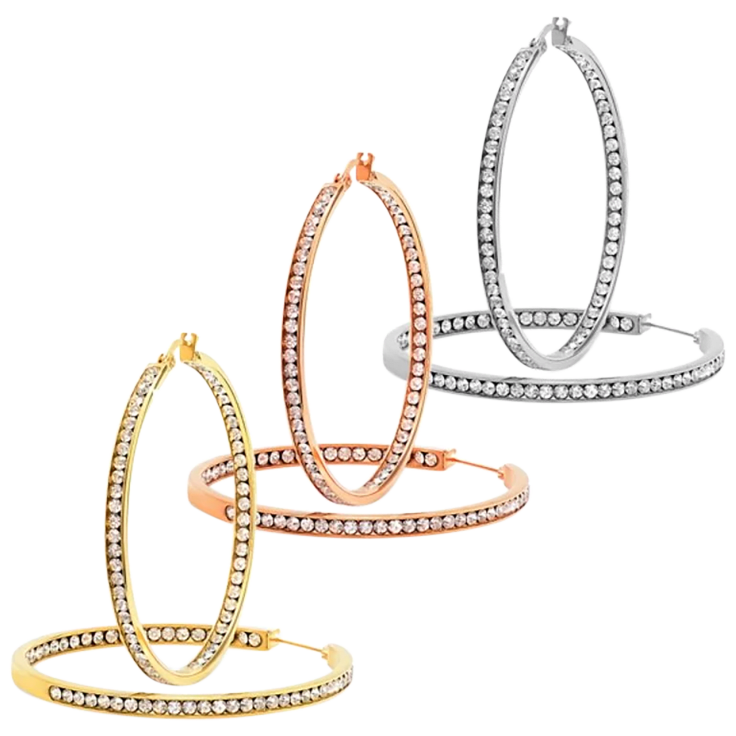 Piatella Inside Out 50mm Simulated Diamond Hoop Earrings