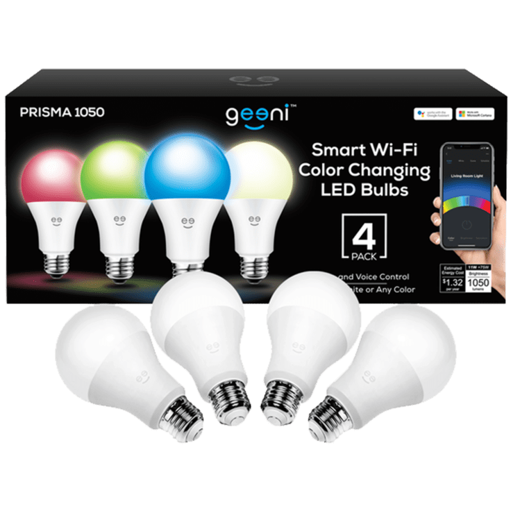 4-Pack Geeni Smart Wi-Fi Color Changing Dimmable LED Bulbs