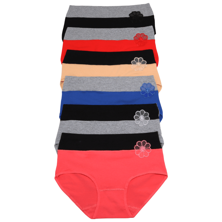 6-Pack Angelina Cotton Mid-Rise Brief Panties