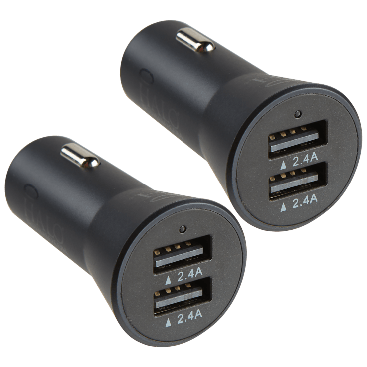 2-Pack Halo Smart Charge Dual 2.4A Car Adapters