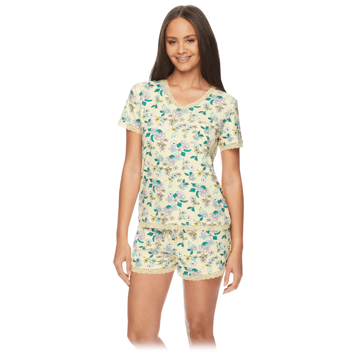 Kathy Ireland Pajama Set with V-Neck Tee and Shorts