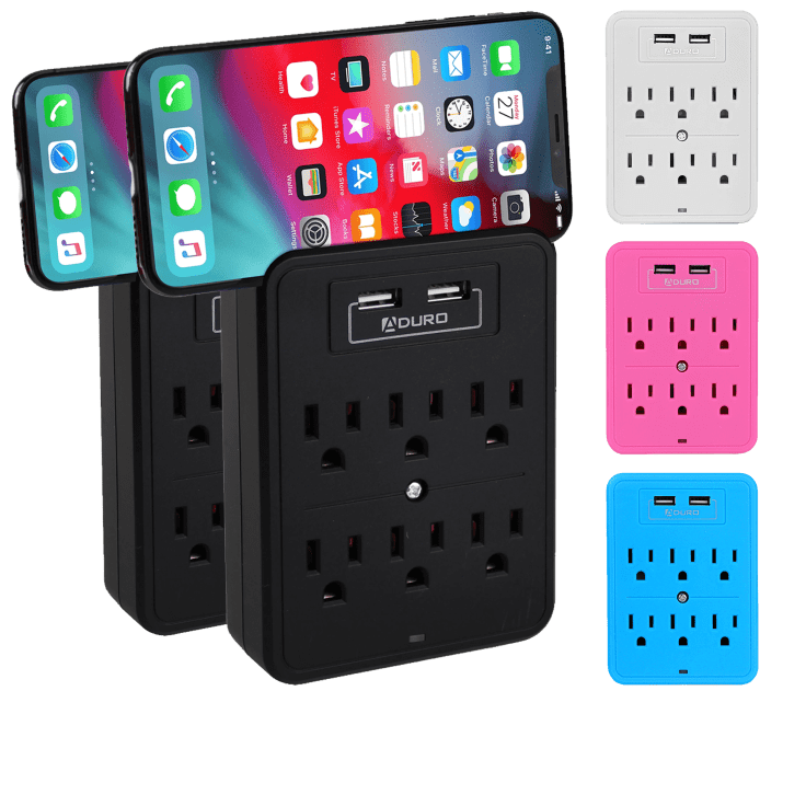 2-Pack Aduro 6-Outlet Multi-Station with Dual USB Ports