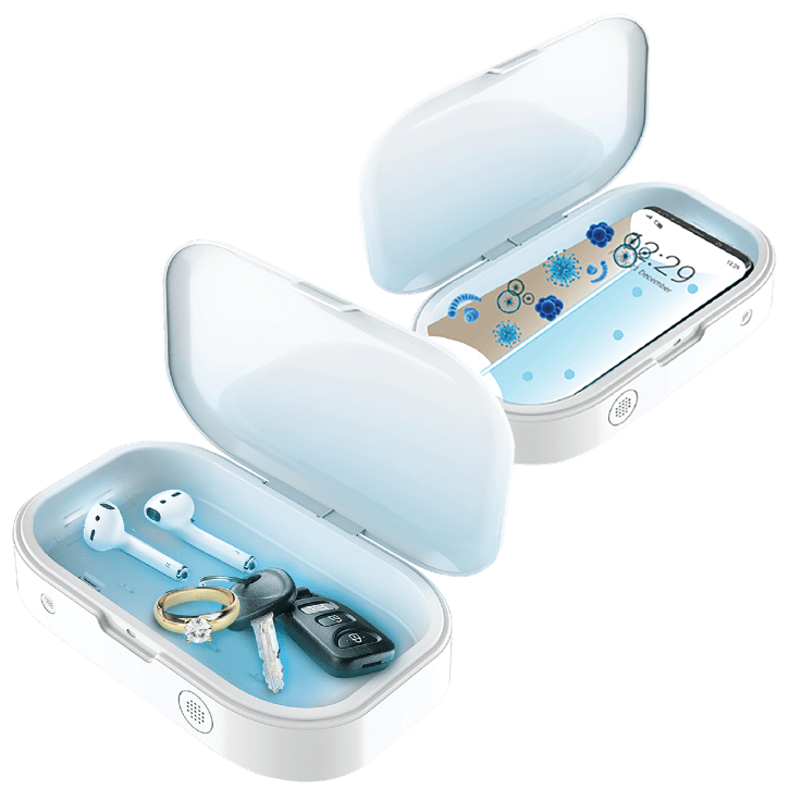 2-Pack Phone & Accessory UV Light Sanitizer Boxes with Aromatherapy