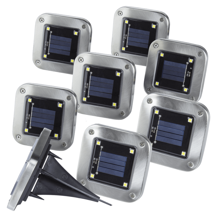 8-Pack Square In-Ground Solar Pathway Lights with Bright LEDs