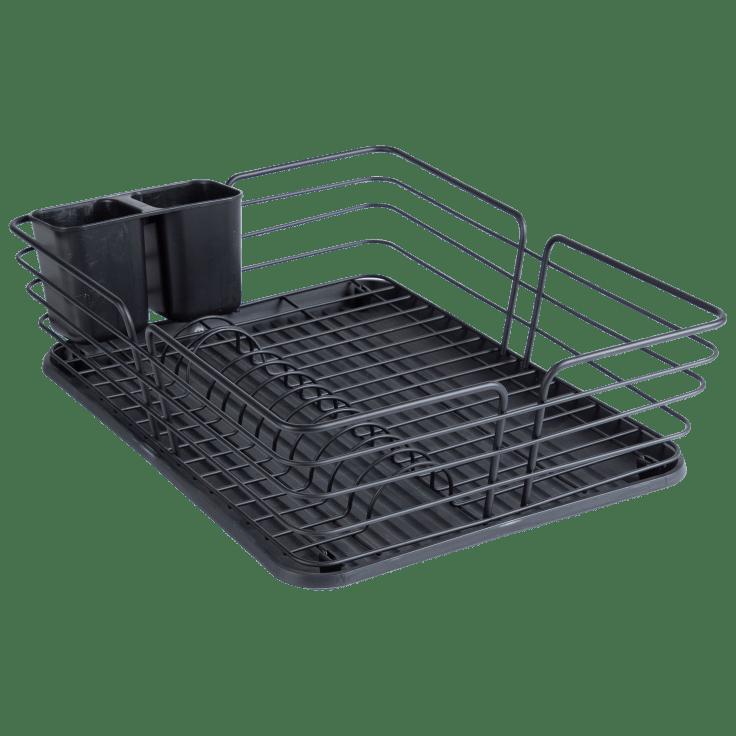 Bombay Powder Coated Iron Dish Rack with Base & Utensil Holder (Black)