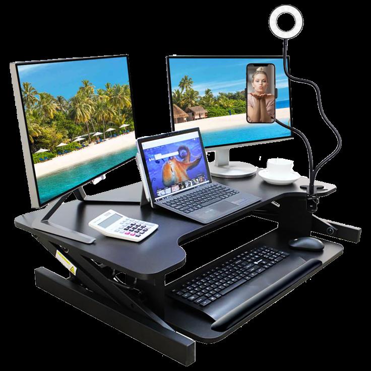 Ergo Standing Desk Converter with Streamer Kit & Gel Wrist Rest