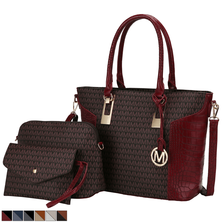 MKF Collection Shonda 3 Piece Tote with Cosmetic Pouch & Wristlet
