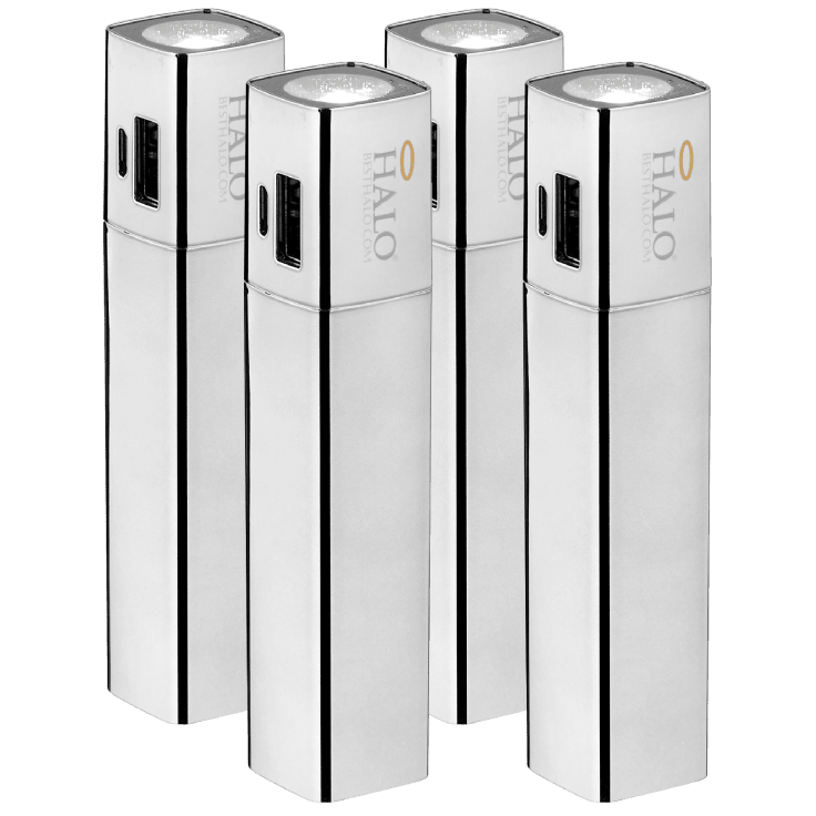 4-Pack Halo Shine 3,000mAh 2-in-1 Flashlight Power Banks