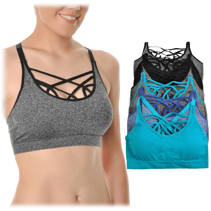 NEW Angelina 3-Pack Crisscross Strappy Back Sports Bras Large