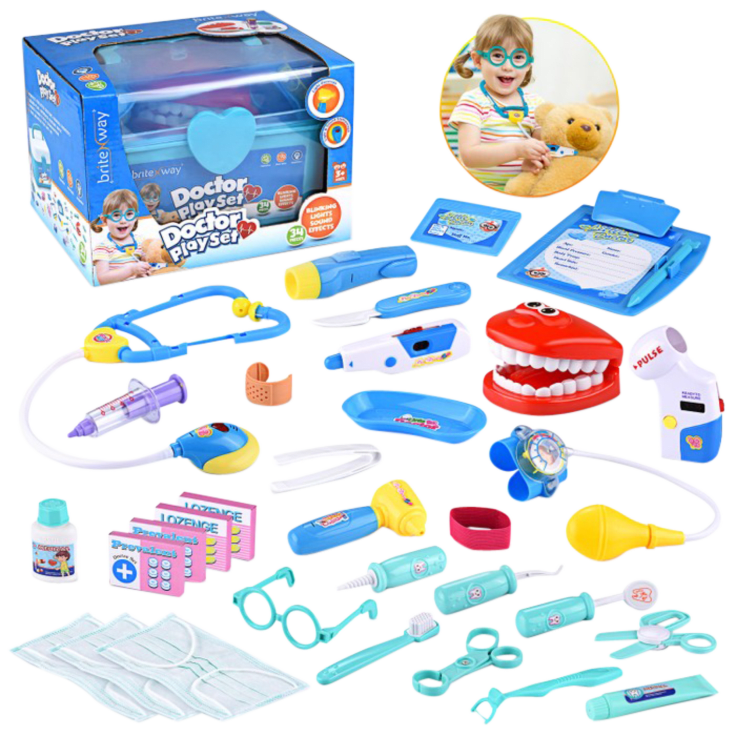 Educational Doctor Medical Pretend Play Toy Set 34 Pieces