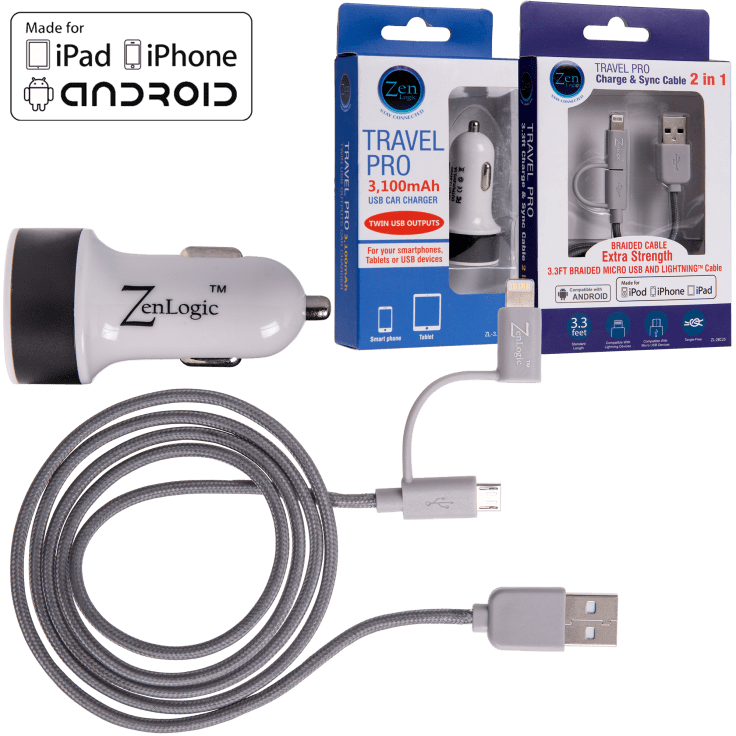 Dual Port USB Car Charger and Universal Charging Cable by