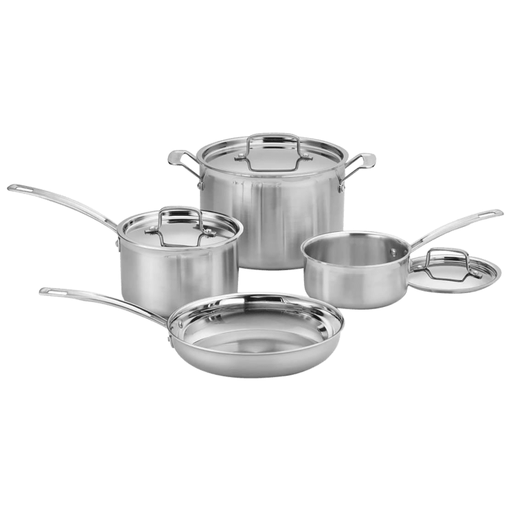 7-Piece Cuisinart MCP-7N MultiClad Pro Stainless-Steel Cookware Set (Silver)