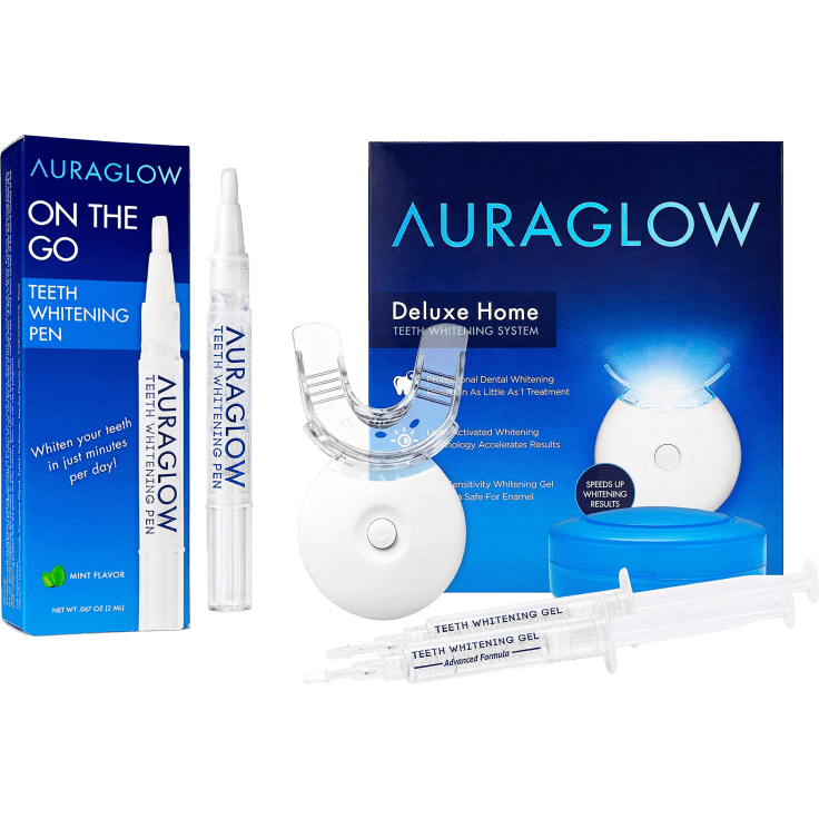 Auraglow Deluxe Home Teeth Whitening Kit With Bonus On The Go Whitening Pen