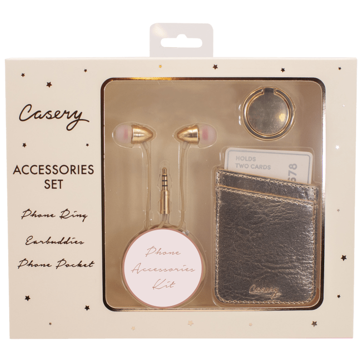 Casery Phone Accessories Set with Ring, Wallet & Headphones