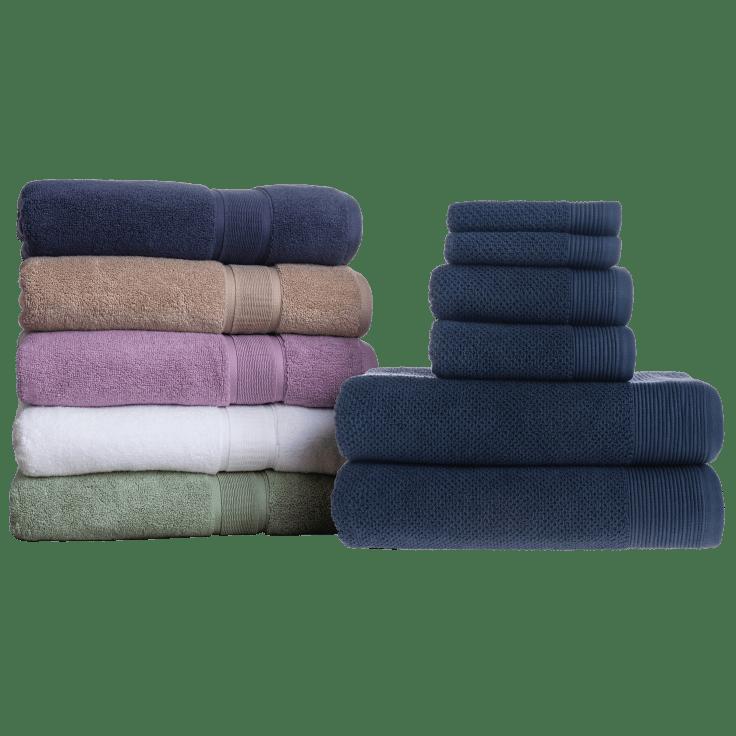 7 Pieces Egyptian Cotton Ribbon Bath Towels Set Glove Mitt Multi-Colours
