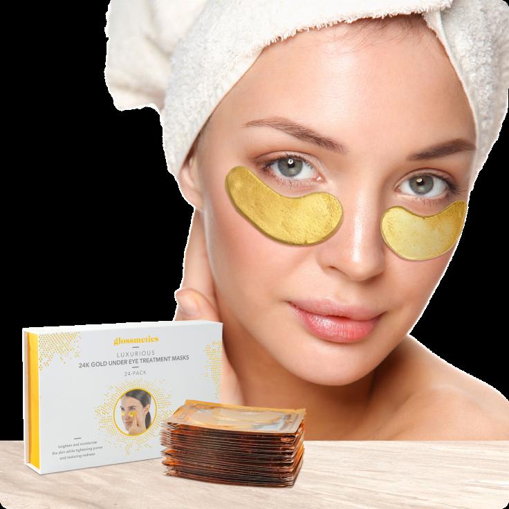 24-Pairs Glossmetics 24K Gold Under Eye Collagen Treatment Masks