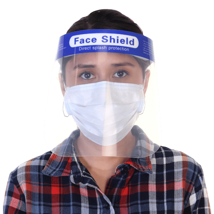 10-Pack Reusable Face Shields with Foam Forehead Band and Elastic Strap