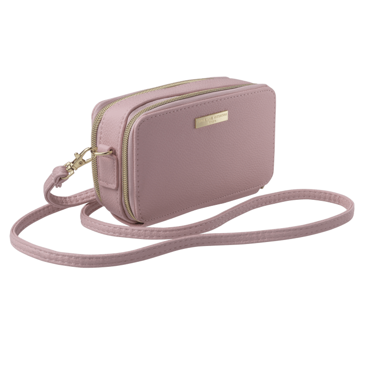 Adrienne Vittadini Women/'s Pink Silver Shimmer Pill Case Zip Set $20